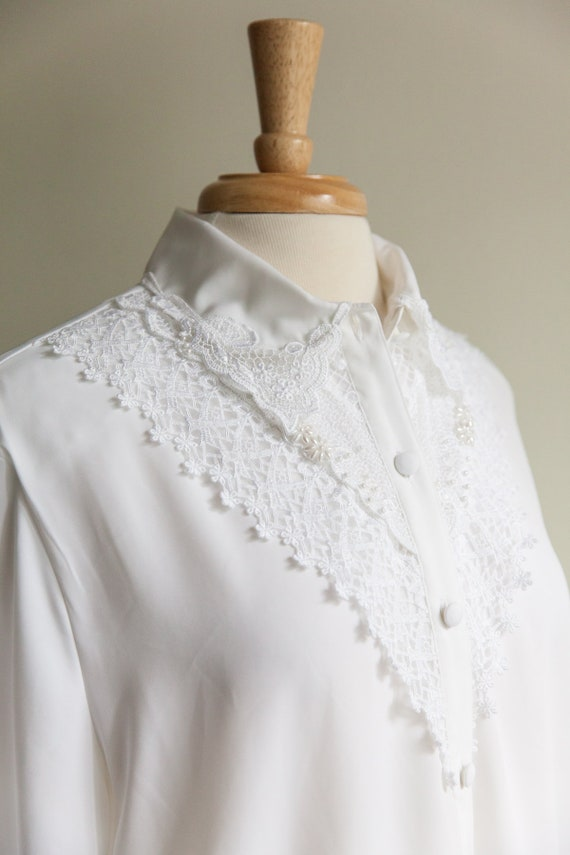 lace and pearls white blouse, 1990s 90s vintage wh