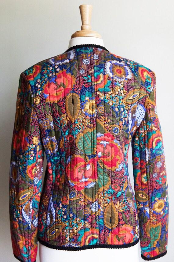 80s vintage floral quilted jacket, vintage quilte… - image 3