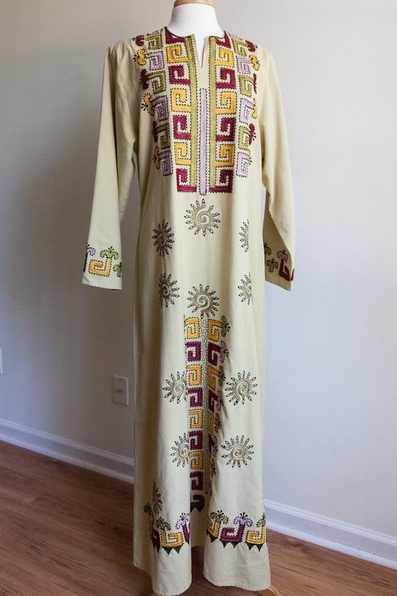 70s vintage embroidered kaftan, vintage kaftan, 70