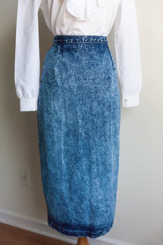 80s acid washed denim skirt, vintage denim skirt,… - image 2