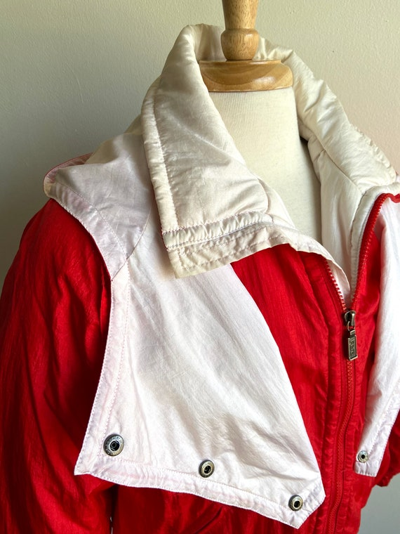 vintage candy apple red puffer coat, 1980s 80s re… - image 9