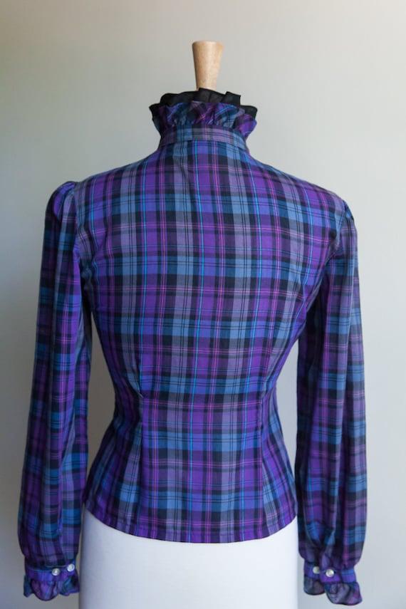 Vintage 70s plaid prairie ruffle blouse, 70s plai… - image 3