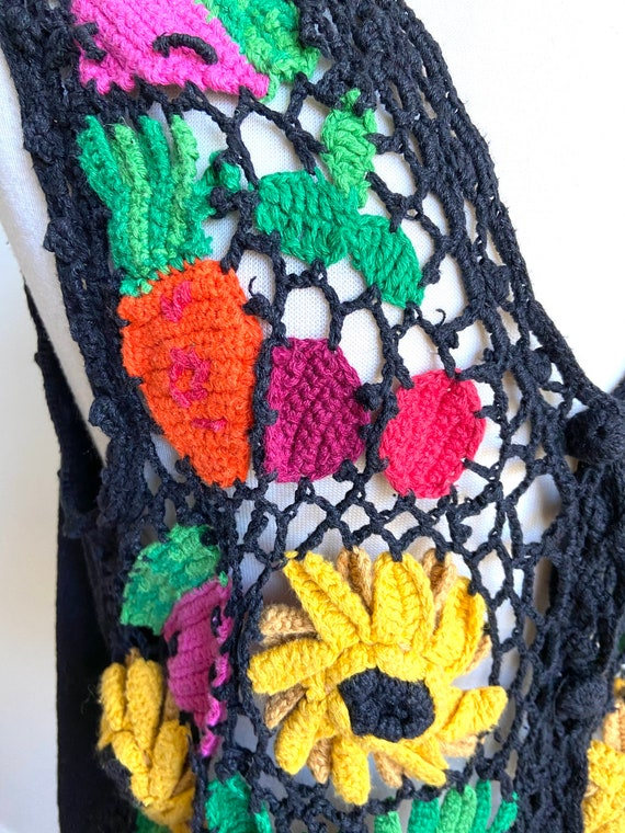 vintage fruits and veggies sweater vest, 1980s 80… - image 3