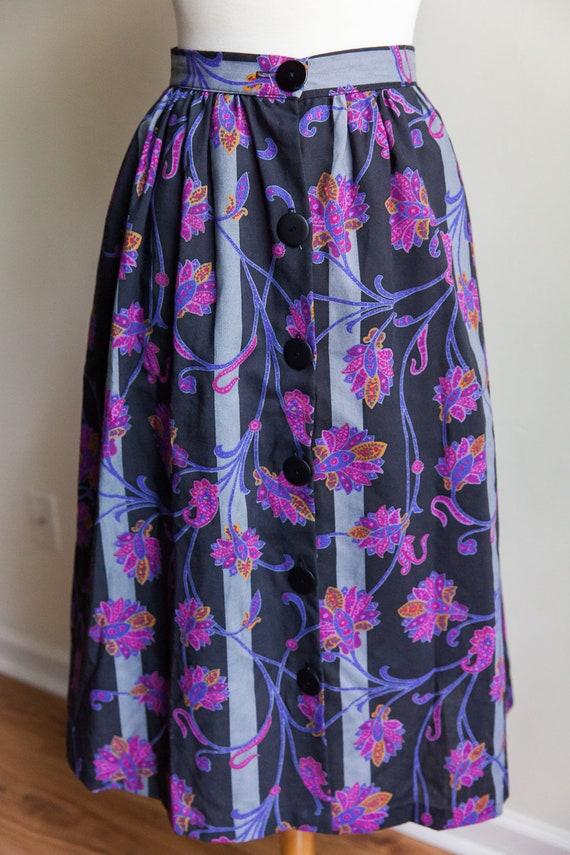 60s vintage floral midi skirt, vintage midi skirt,