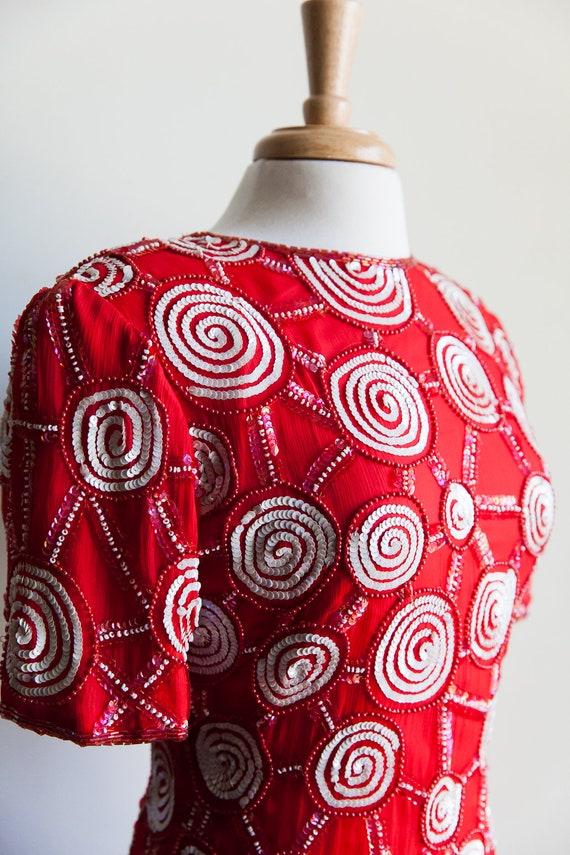 80s sequin peppermint party dress, 80s party dres… - image 4