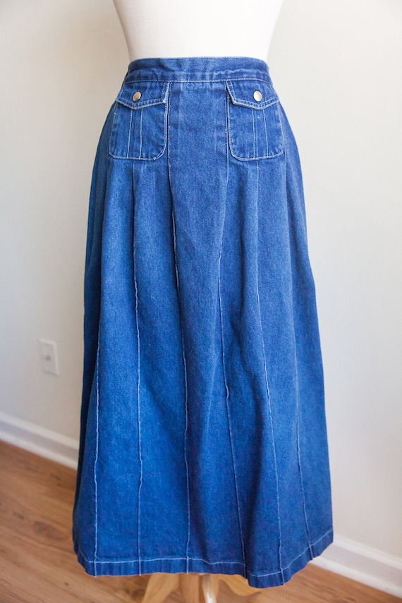 70s vintage high waisted denim skirt, vintage deni