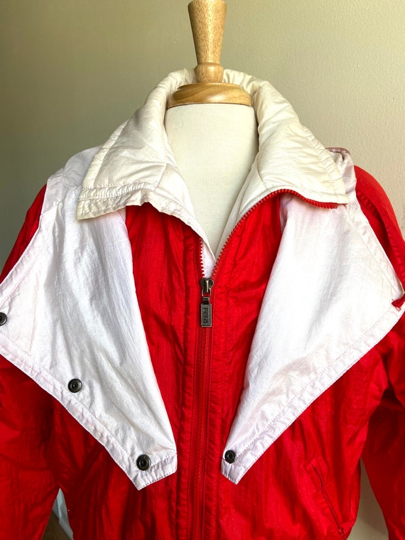 vintage candy apple red puffer coat, 1980s 80s re… - image 7