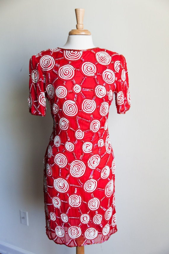 80s sequin peppermint party dress, 80s party dress