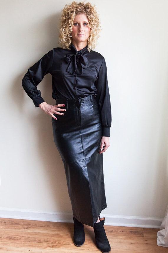 80s vintage high waisted leather skirt, vintage le