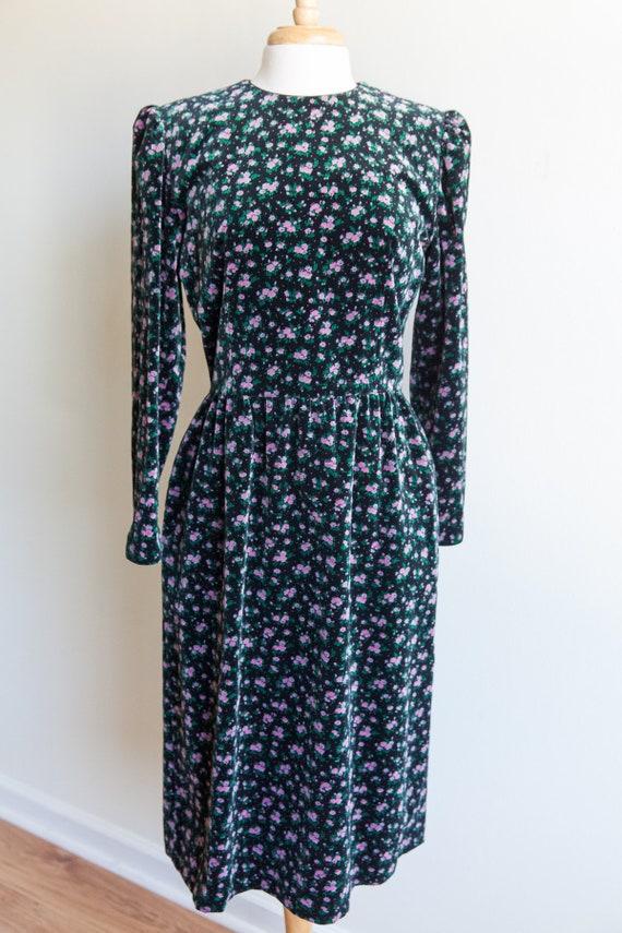 vintage velveteen blooms midi dress, 1980s 80s flo