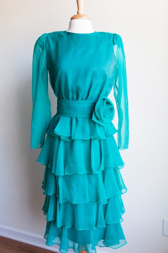 80s vintage teal ruffles & rosette dress, 80s ruff