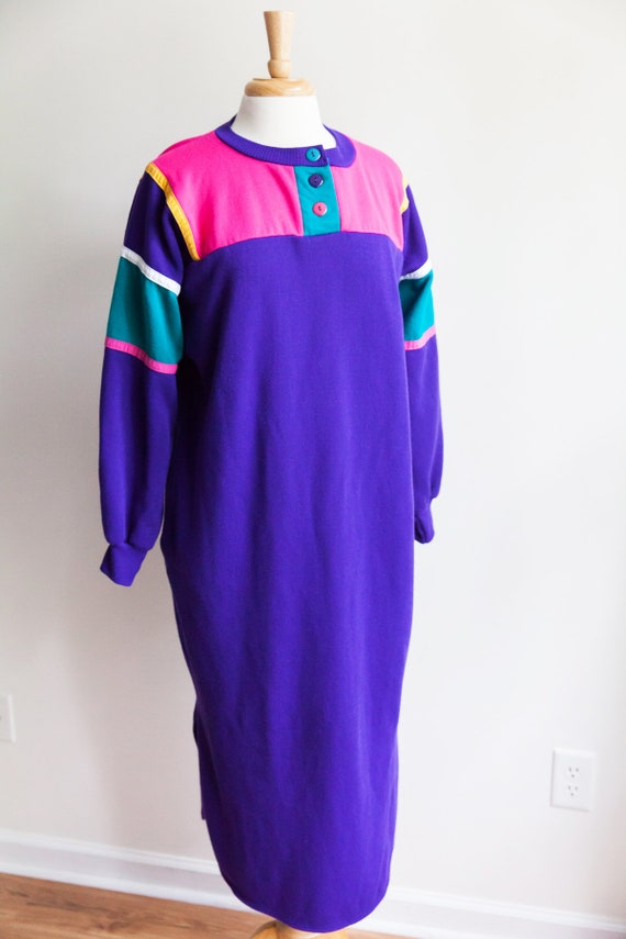 vintage colorblock sweatshirt dress, 1980s 80s pur