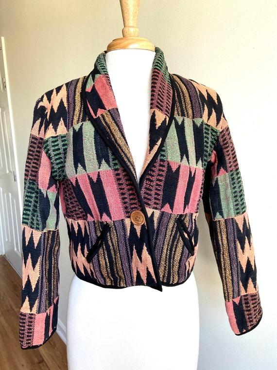 vintage southwest cropped jacket, 1990s 90s southw