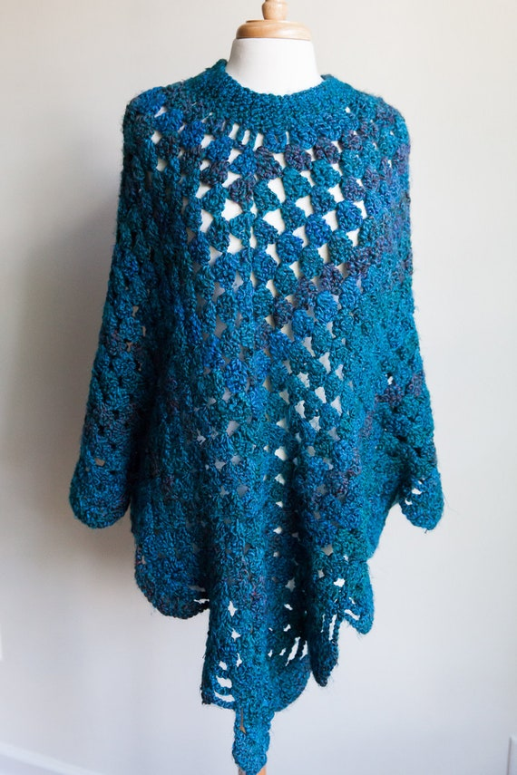 70s vintage blue crocheted poncho, 70s poncho, 70s
