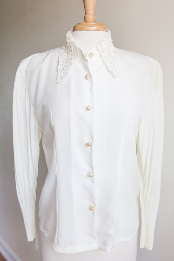 vintage pleats and lace collar blouse, 1980s 80s v