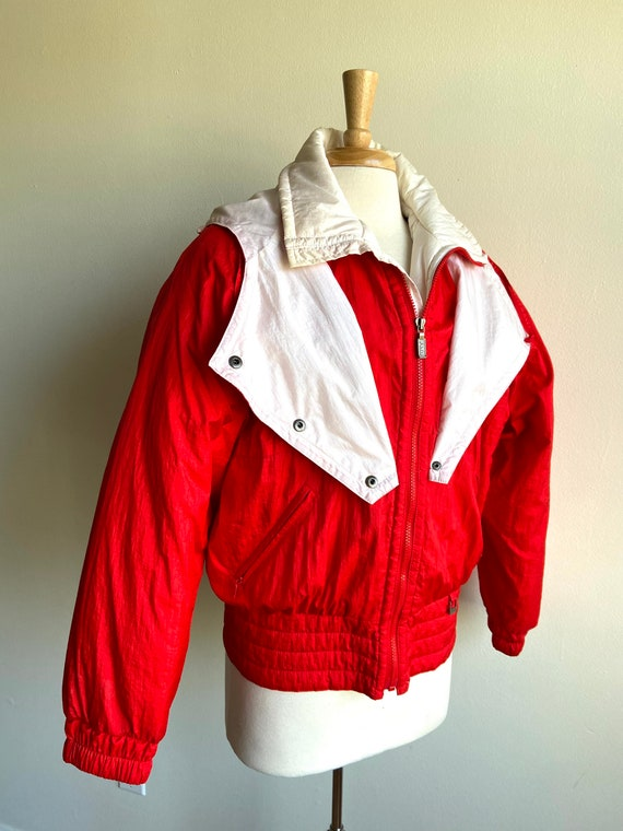 vintage candy apple red puffer coat, 1980s 80s re… - image 5