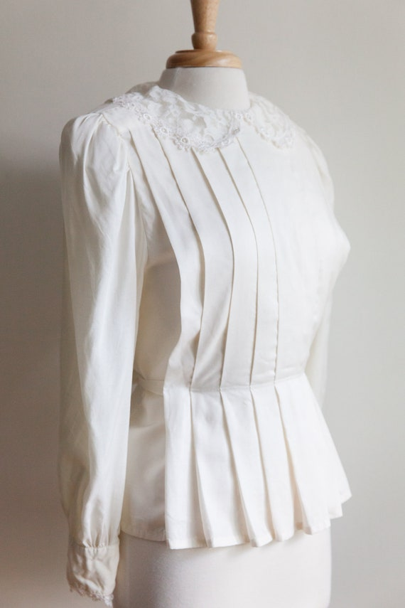 vintage pleated lace collar blouse, 1980s 80s ivo… - image 4