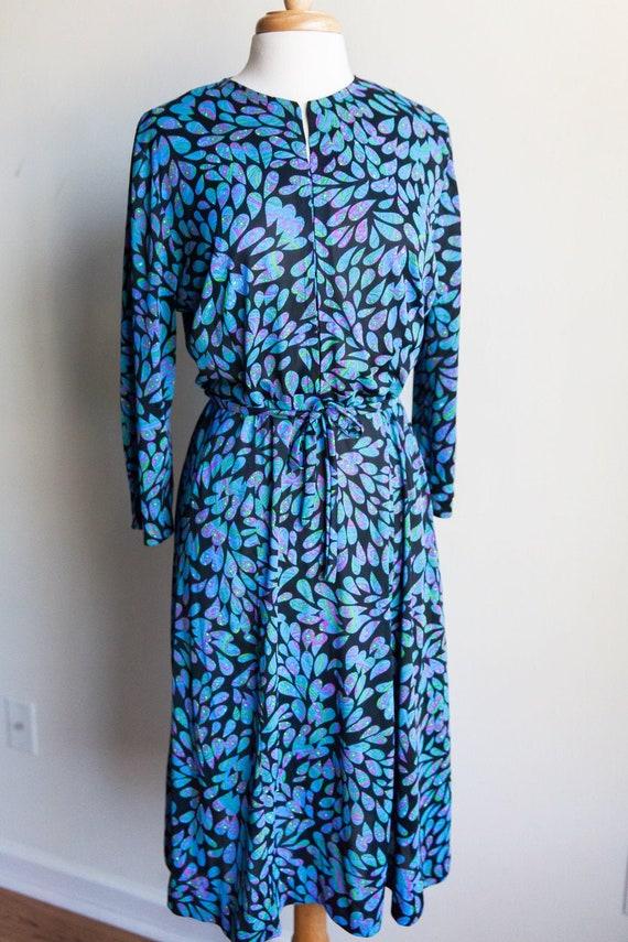 70s vintage kaleidoscope dreams dress, 70s midi dr