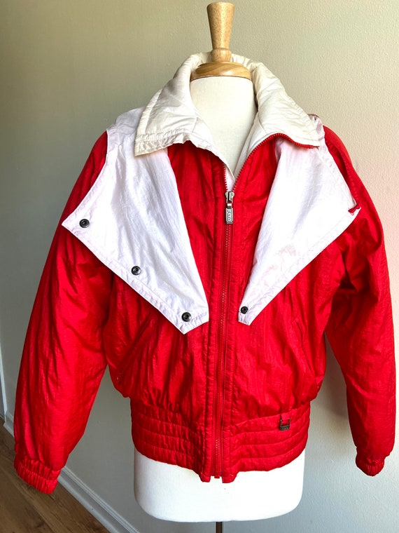 vintage candy apple red puffer coat, 1980s 80s re… - image 2
