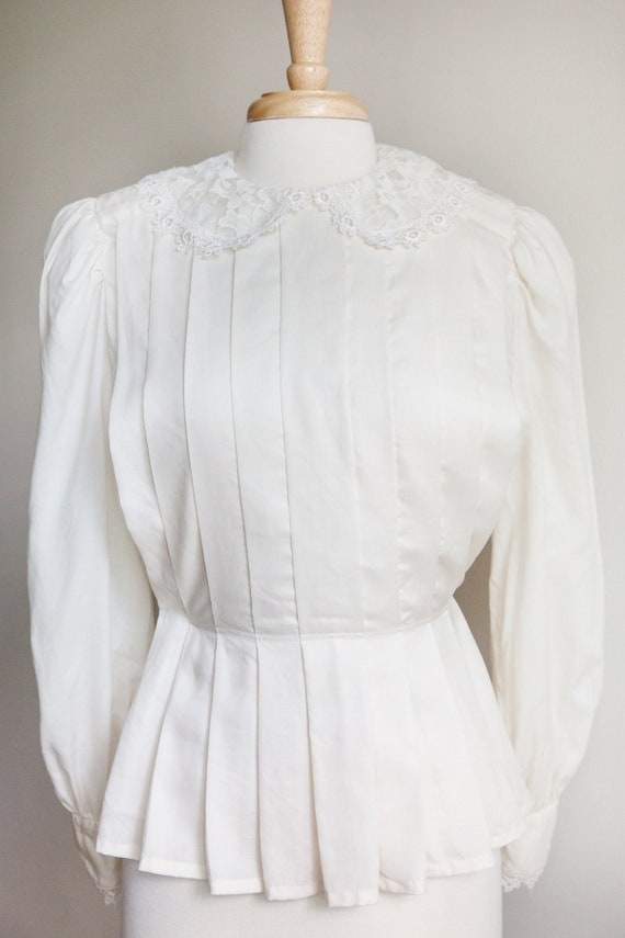 vintage pleated lace collar blouse, 1980s 80s ivo… - image 3