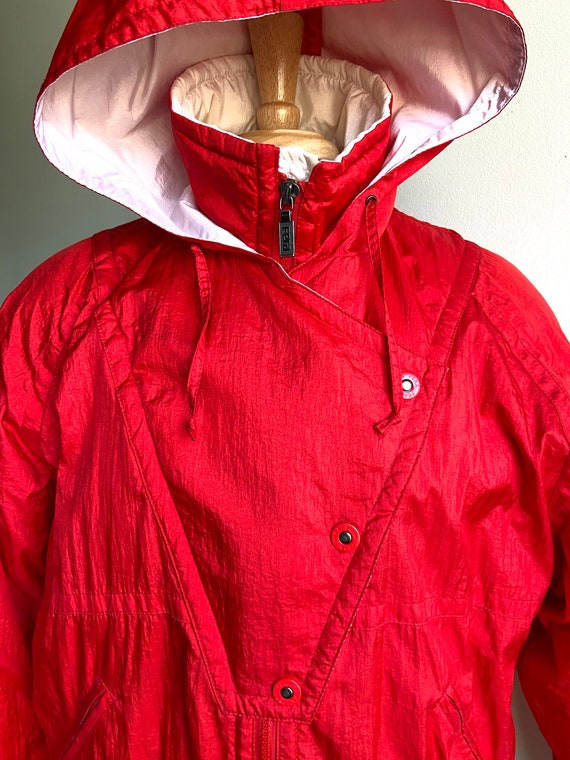 vintage candy apple red puffer coat, 1980s 80s re… - image 3