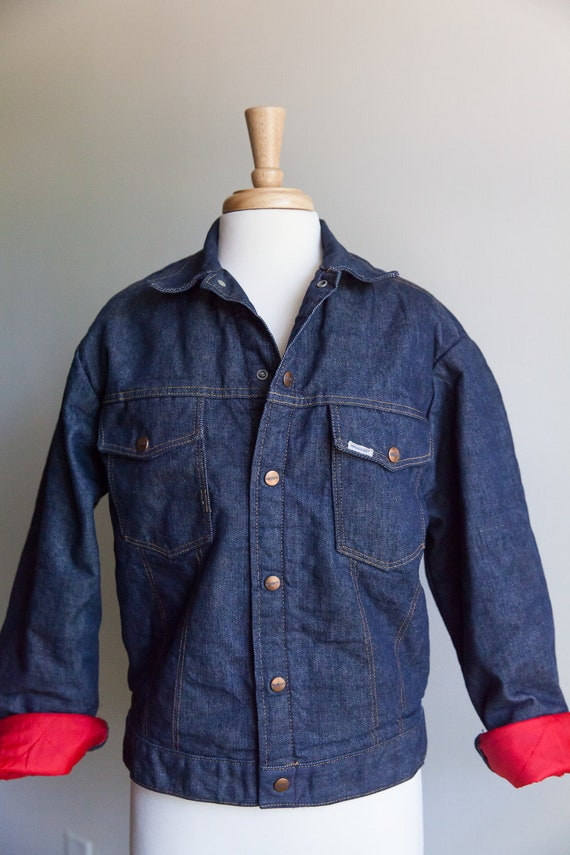 70s vintage Roebucks denim jacket, 70s lined denim