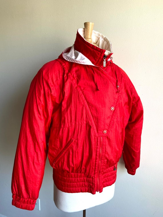 vintage candy apple red puffer coat, 1980s 80s re… - image 4