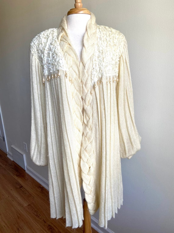 vintage pearls and pleats ivory sweater coat, 1980
