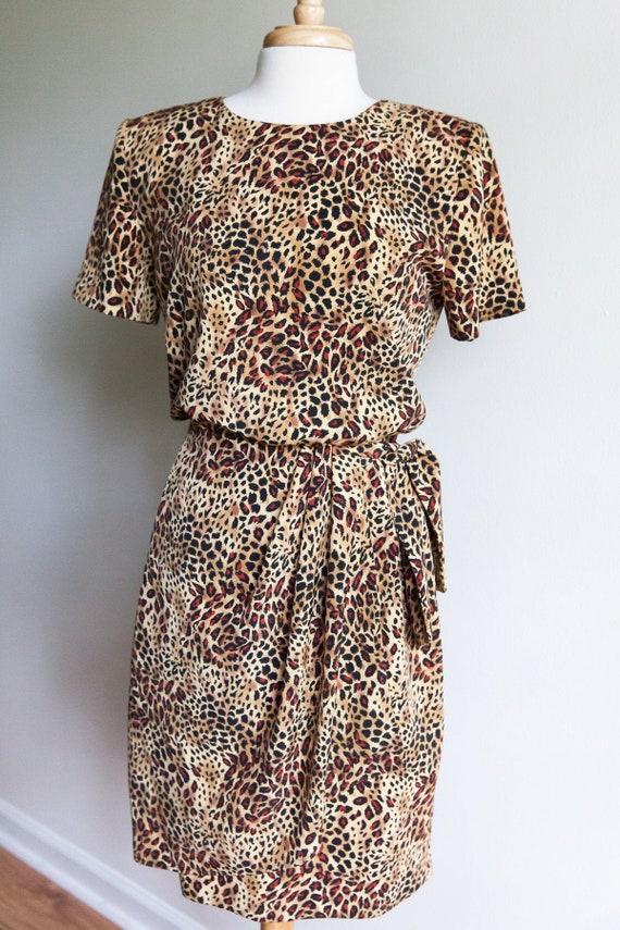 80s vintage leopard print dress, 80s leopard dress