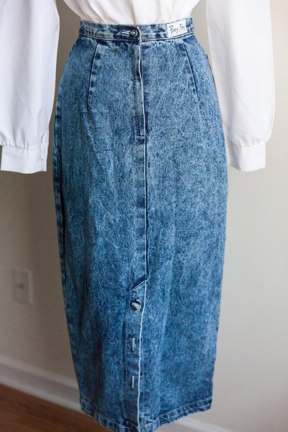 80s acid washed denim skirt, vintage denim skirt,… - image 4