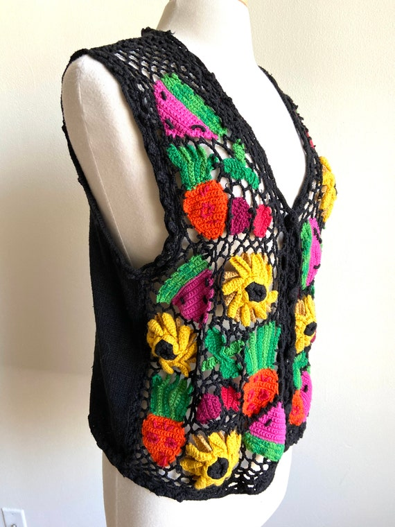 vintage fruits and veggies sweater vest, 1980s 80… - image 2