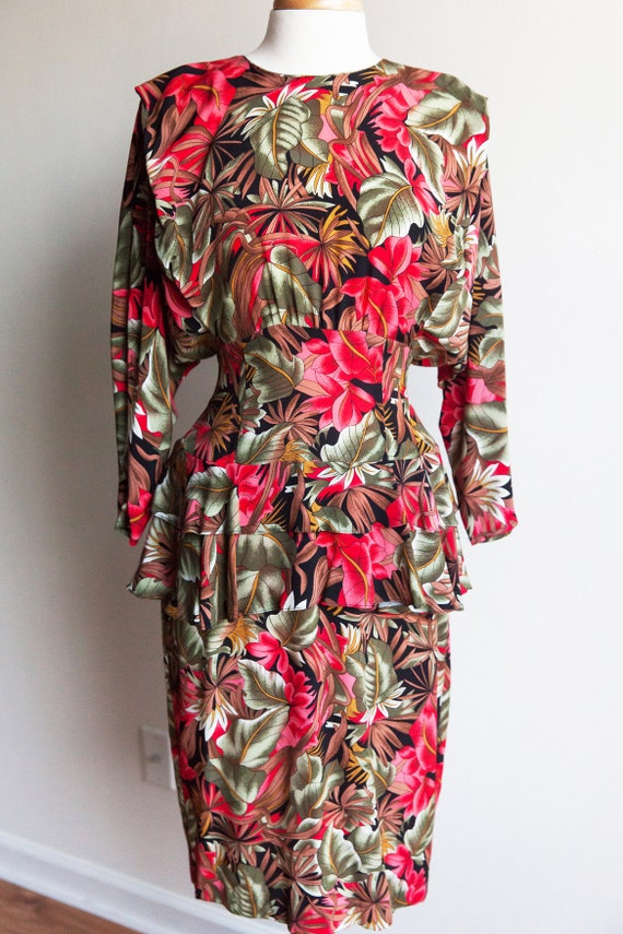 80s vintage tropical garden dress, 80s peplum dres