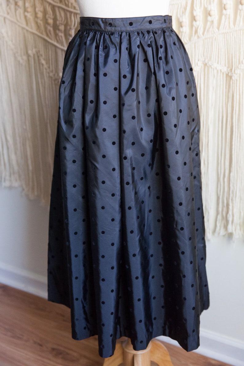 vintage holiday skirt 80s black polka dot skirt 80s vintage Chaus polka dot skirt 80s fashion