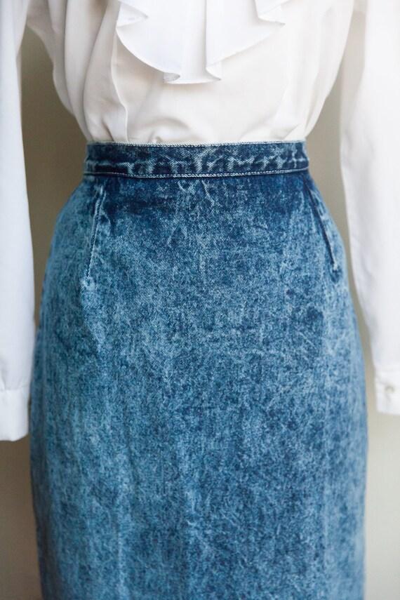80s acid washed denim skirt, vintage denim skirt,… - image 3