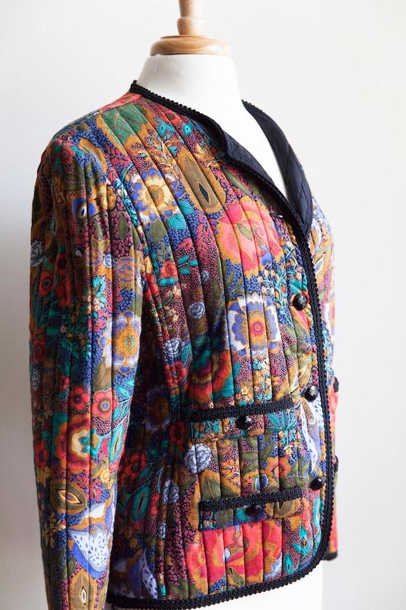 80s vintage floral quilted jacket, vintage quilte… - image 2