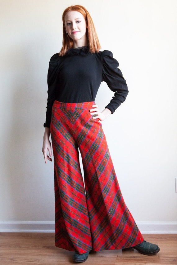 70s vintage plaid wide legged pants, 70s high wais