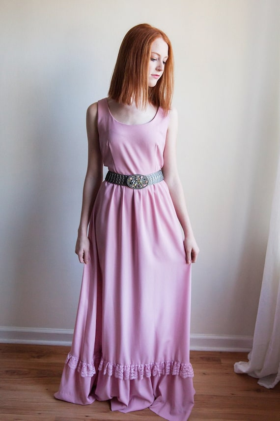 80s vintage pretty in pink maxi dress, vintage max
