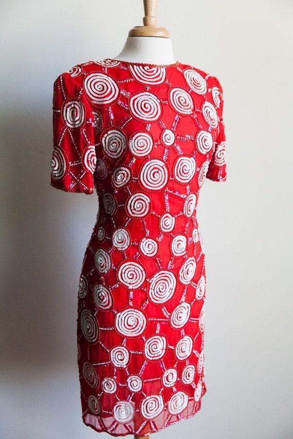 80s sequin peppermint party dress, 80s party dres… - image 2