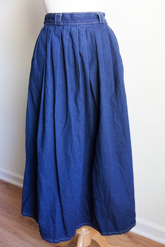 Vintage 80s denim prairie skirt, vintage prairie s