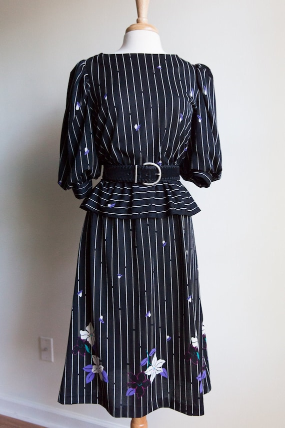 80s vintage striped peplum dress, 80s peplum dress