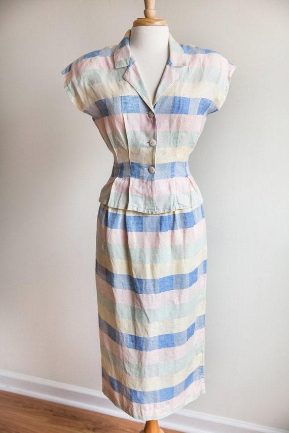 80s vintage pastel plaid skirt set, 80s pastel pla