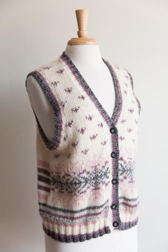 vintage fair isle sweater vest, 1990s 90s ivory fa