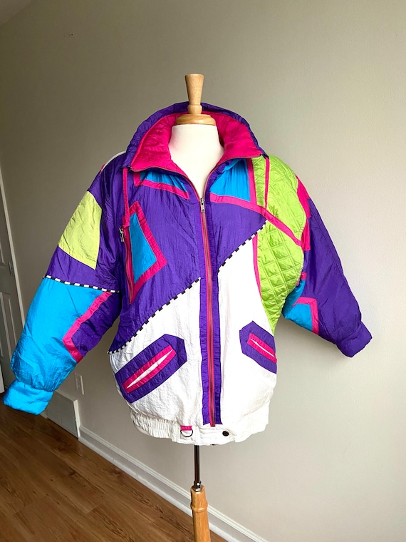 vintage colorblock puffer coat, 1980s 80s nylon ra