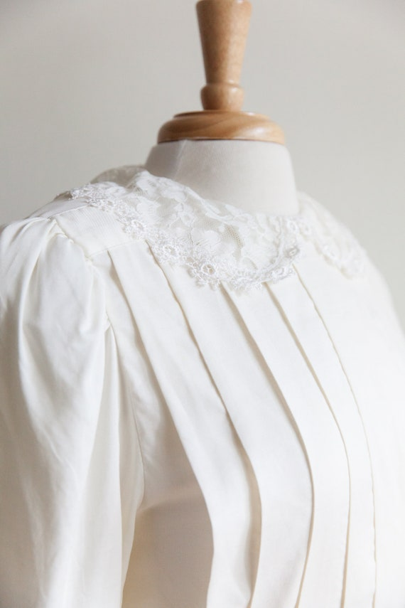 vintage pleated lace collar blouse, 1980s 80s ivo… - image 2