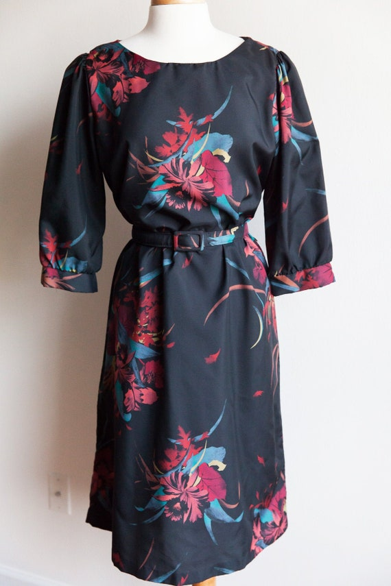 80s vintage tropical flower dress, 80s vintage flo