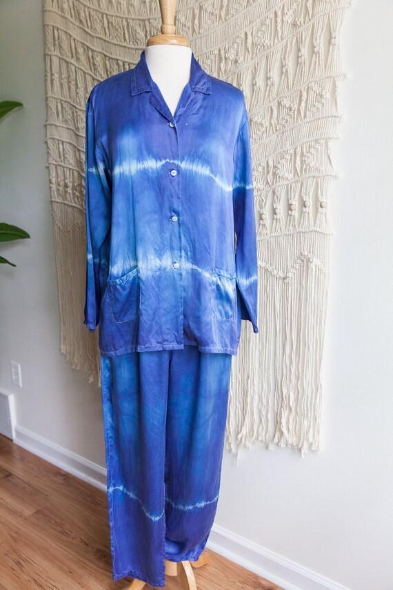 vintage indigo tie dye silk pajamas, 1990s 90s vin