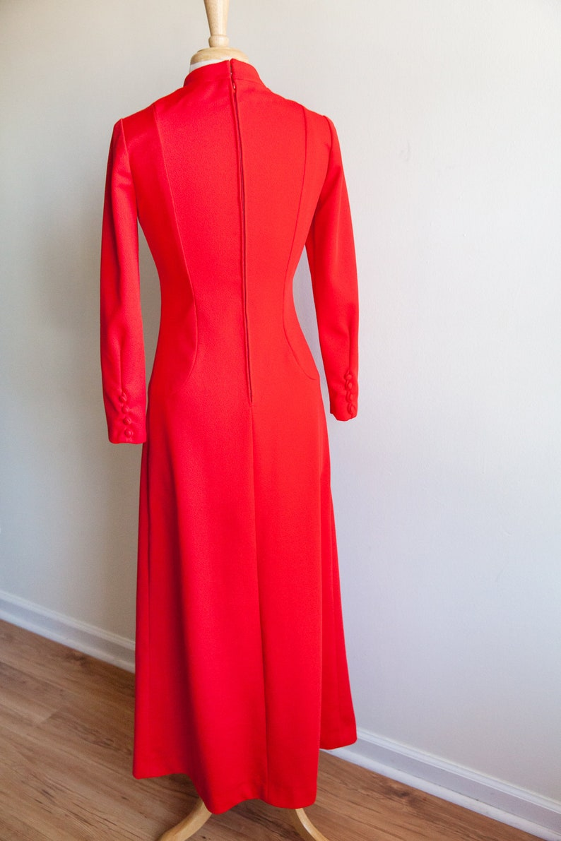 vintage candy apple red maxi dress vintage boho hippy dress small 1970s 70s red long maxi dress