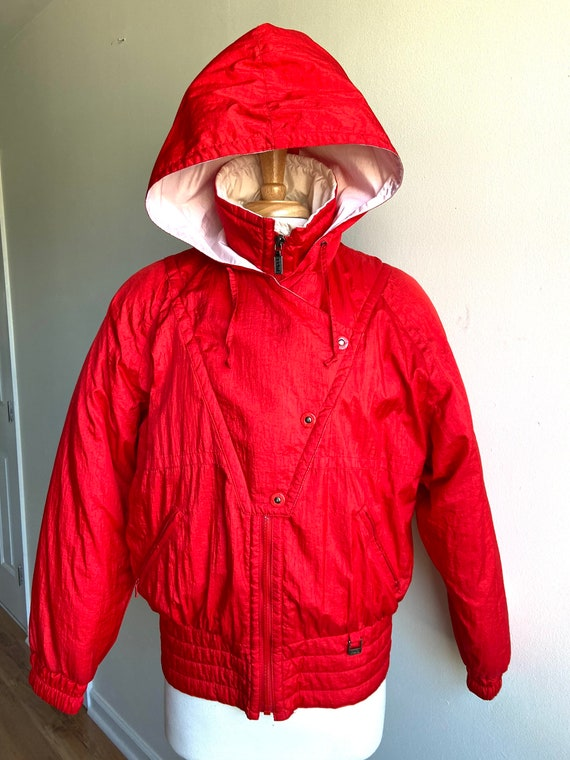 vintage candy apple red puffer coat, 1980s 80s red