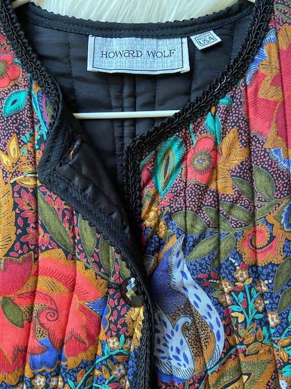 80s vintage floral quilted jacket, vintage quilte… - image 4