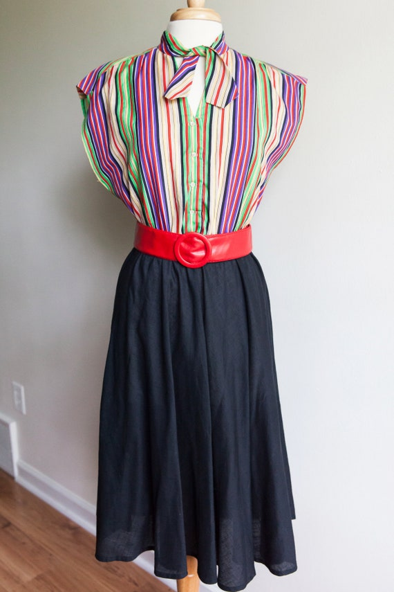 70s vintage rainbow striped dress, 70s vintage dre